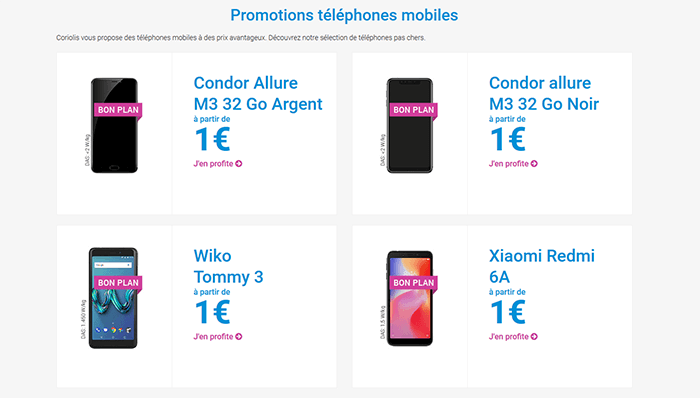Promotions Téléphones Coriolis